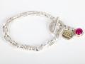 OH DEAR a bracelet! zilver/ geelgoud18 met roze calchedoon