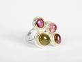 ring zilver/geelgoud 18kt met 3 toermalijnen, 1 rhodoliet