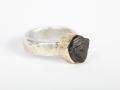 ring zilver/geelgoud 18kt met spinel kwarts